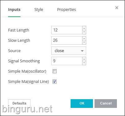 MACD inputs